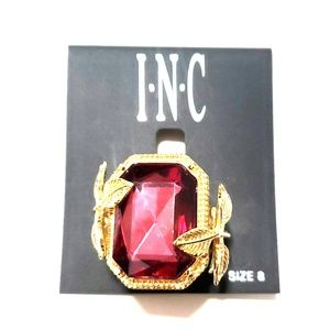 《INC》Statement Ring Ruby Gold Gemstone Cocktail